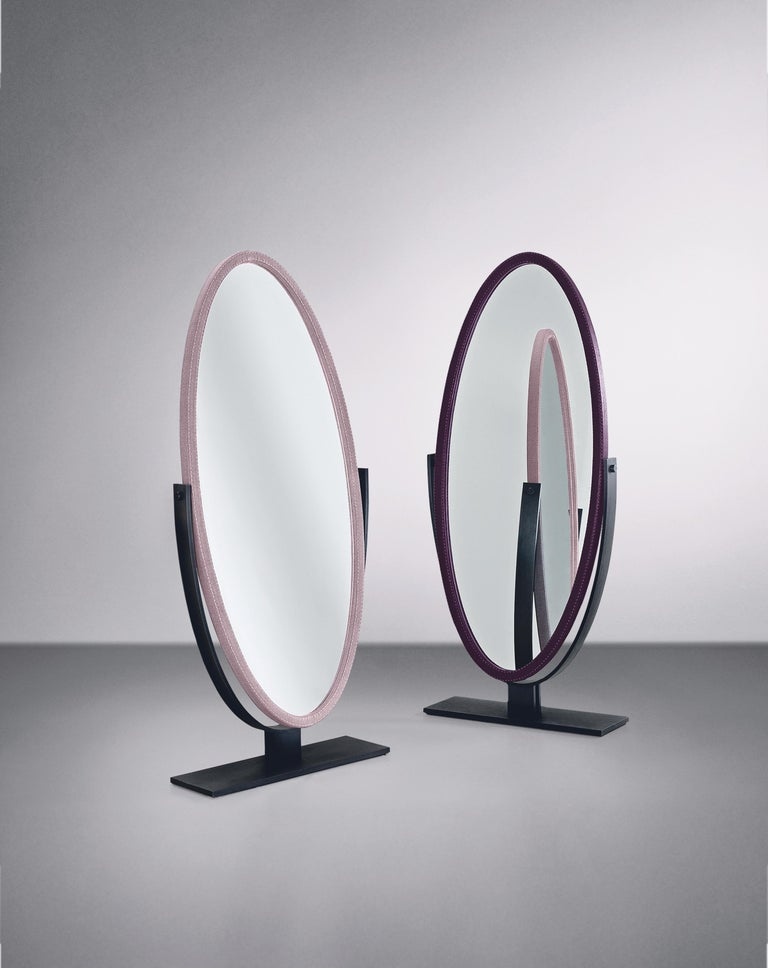 Modern Promemoria Ingrid Mirror in Bronze and Fabric Covering by Romeo Sozzi For Sale