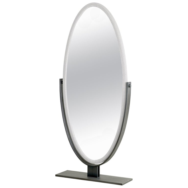 For Sale: Gray (man in grey 20.jpg) Promemoria Ingrid Mirror in Bronze and Fabric Covering by Romeo Sozzi