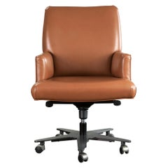 Promemoria Isotta Office Armchair in Leather and Dark Bronze by Romeo Sozzi