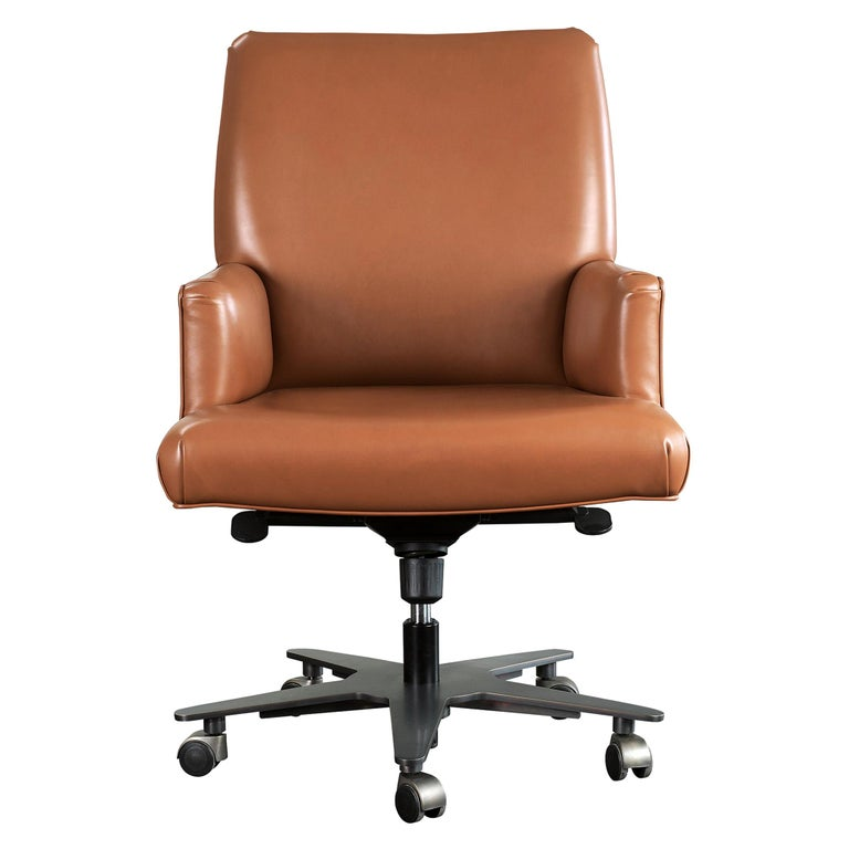For Sale: Brown (smooth leather cognac.jpg) Promemoria Isotta Office Armchair in Leather and Dark Bronze by Romeo Sozzi
