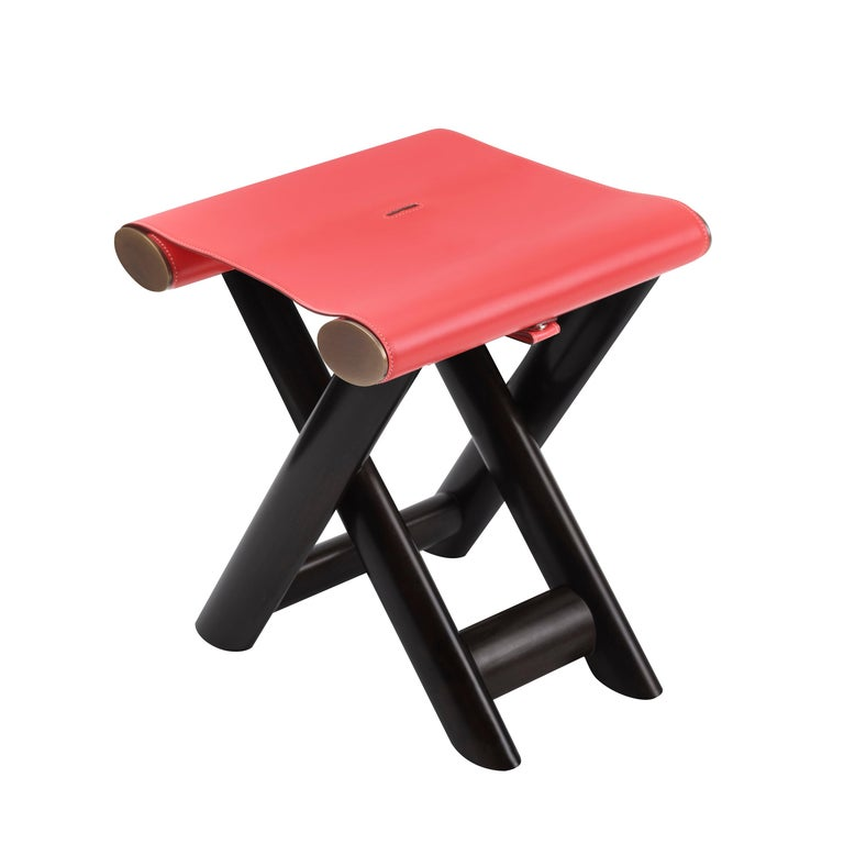 Promemoria Petit Nyx Stool in Black Maple and Leather by Romeo Sozzi For Sale