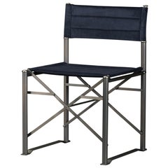 Promemoria Quentin Folding Chair in Smooth Dark Bronze and Fabric by Romeo Sozzi