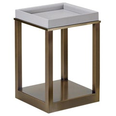 Promemoria Scarlett Small Table in Bronze and Leather by Romeo Sozzi