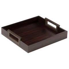 Promemoria Small Alfred Tray in Ebony and Hammered Bronze by Romeo Sozzi