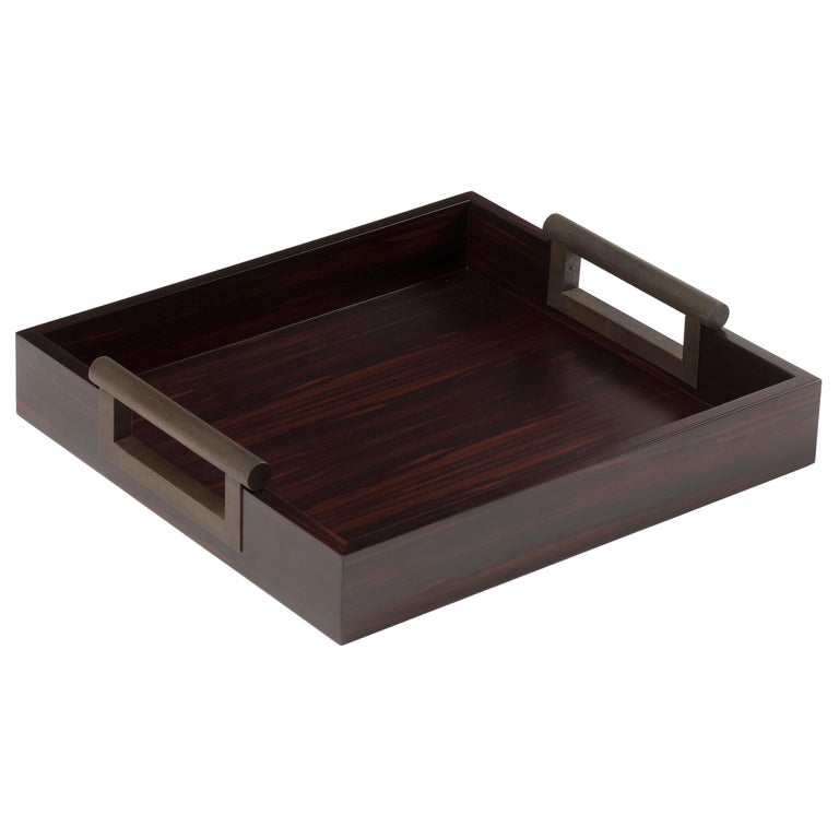 Promemoria Small Alfred Tray in Ebony and Hammered Bronze by Romeo Sozzi For Sale
