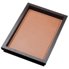 Promemoria Small Ambrogio Tray in Oak and Leather by Romeo Sozzi