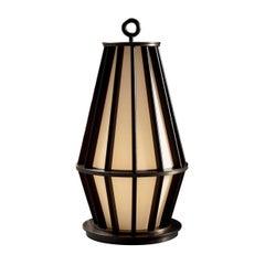 Promemoria Small Mirtilla Floor Lamp in Bronze and Mahogany by Romeo Sozzi