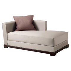 Promemoria Wanda Chaise Longue in Fabric and Beech Base by Romeo Sozzi