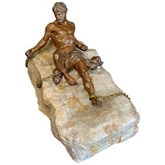 """""""Prometheus Bound,"""" Unique Sculpture of Nude Male Figure Chained to Stone"""