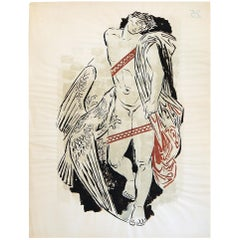 """Prometheus & Eagle"", Midcentury Painting by German Expressionist Illustrator"