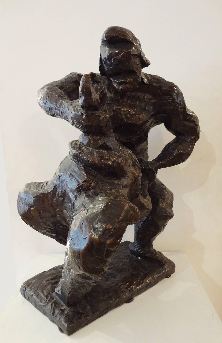 Prométhée strangling the vulture, 1936, by Jacques Lipchitz (1891-1973) Important dark brown patinated bronze sculpture, Signed, Valsuani stamp, 1936. Ref: Lipchitz, les années francaises de 1910 à 40, Paris, 2005, Musée des années 30,