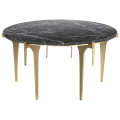 Prong Round Coffee Table in Satin Brass Base with Marble Top by Gabriel Scott