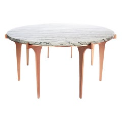Prong Round Coffee Table in Satin Copper Base with Marble Top by Gabriel Scott