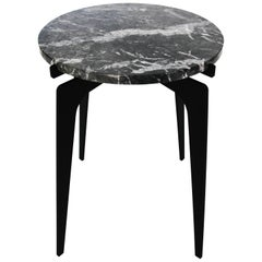 Prong Side Table in Blackened Steel Base with Marble Top by Gabriel Scott