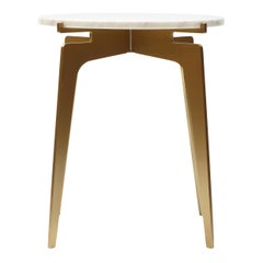 Prong Side Table in Satin Brass Base with Marble Top by Gabriel Scott