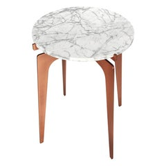 Prong Side Table in Satin Copper Base with Marble Top by Gabriel Scott