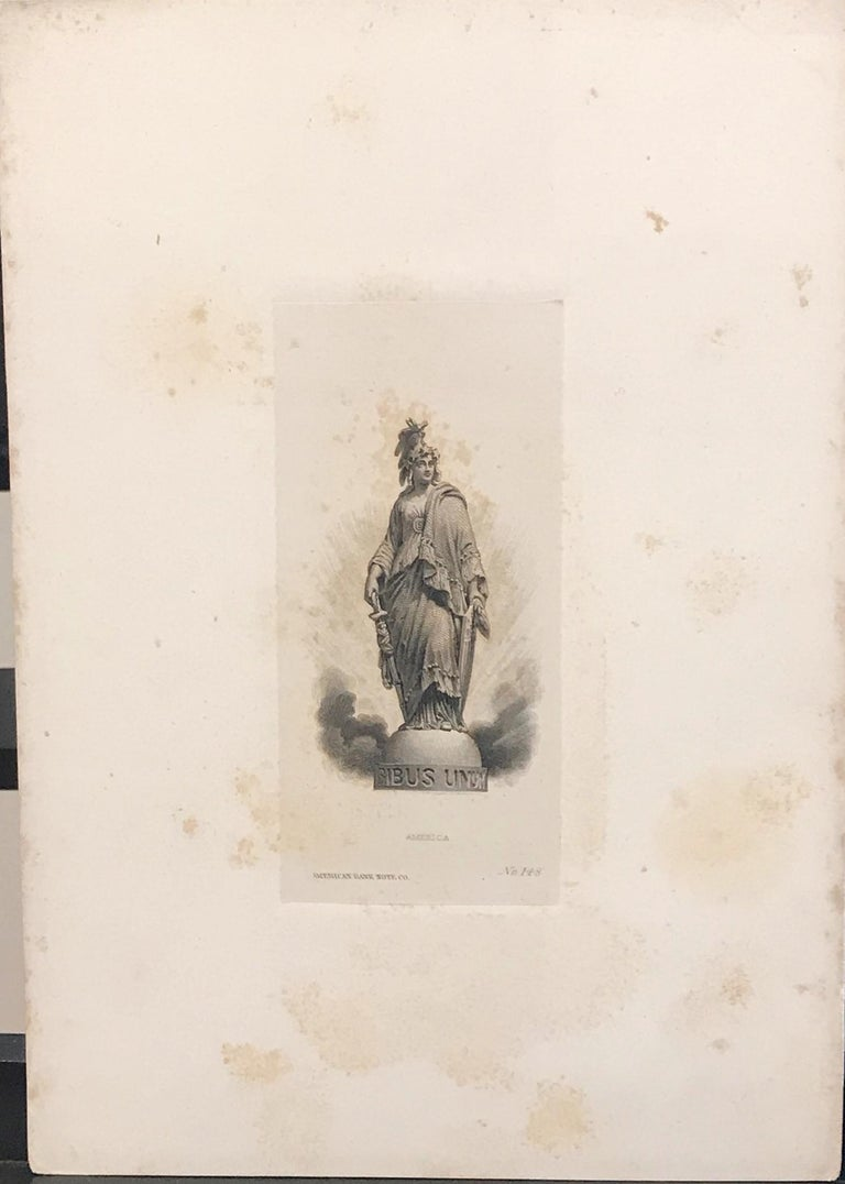 America: (E PL)Uribus Unum, American Bank Note Co., #148  Engraving on paper, circa 1870, cutout and glued on strong sunken paper ( stained, rubbed and tained by age), ready to be framed in. The person who did this put a lot effort in this process