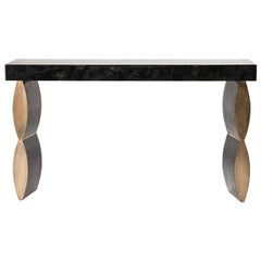 """Propeller"" Console Table in Black Pen Shell & Bronze-Patina Brass by Kifu Paris"
