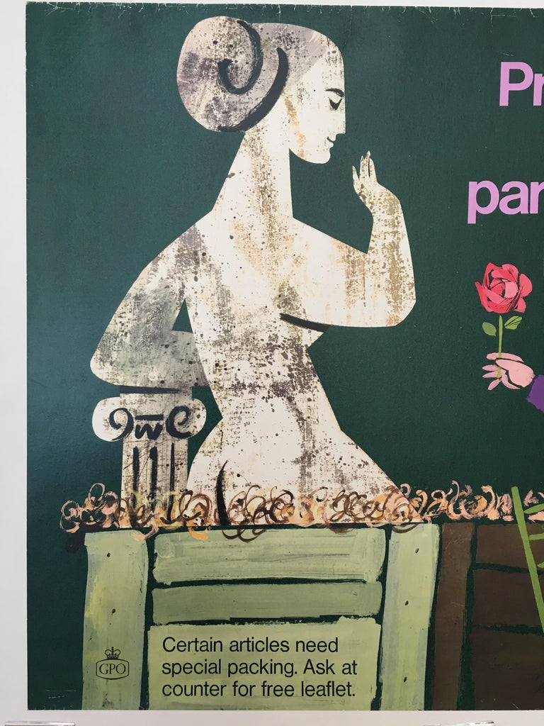 Properly Packed Parcels Please - GPO statue original vintage poster  This poster was part of a series of designs that stretch from 1962 until the early 1970s. They were often humorous, featuring bright colors or children. This poster has been
