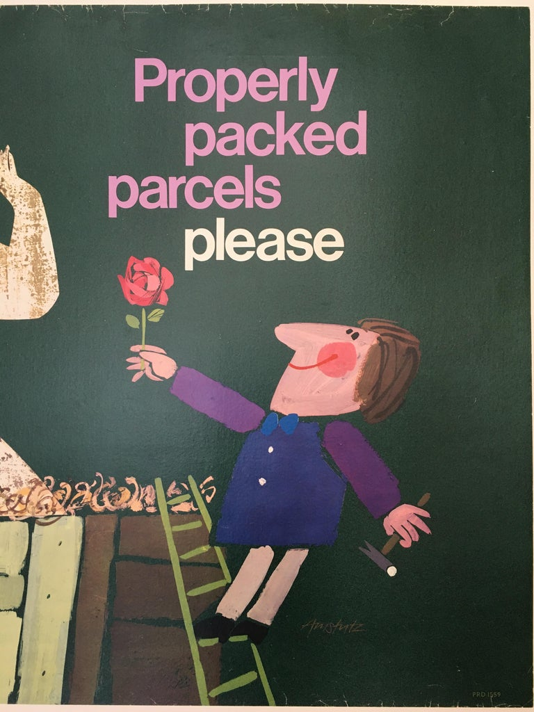 International Style Properly Packed Parcels Please, GPO Statue Original Vintage Poster, circa 1960 For Sale
