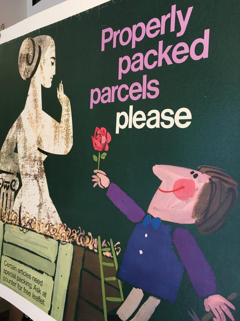Properly Packed Parcels Please, GPO Statue Original Vintage Poster, circa 1960 In Good Condition For Sale In Melbourne, Victoria