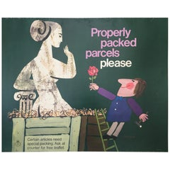 Properly Packed Parcels Please, GPO Statue Original Vintage Poster, circa 1960