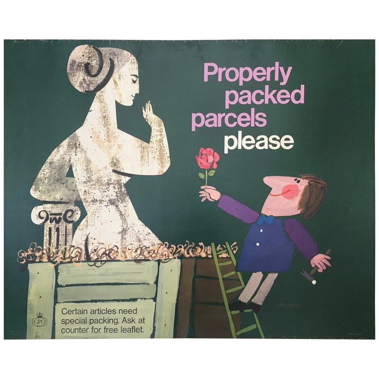 Properly Packed Parcels Please, GPO Statue Original Vintage Poster, circa 1960 For Sale