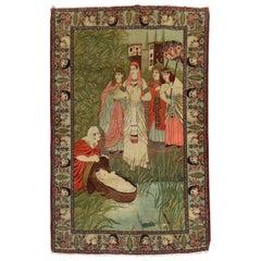 Prophet Baby Moses Persian Kashan Pictorial Wool Rug