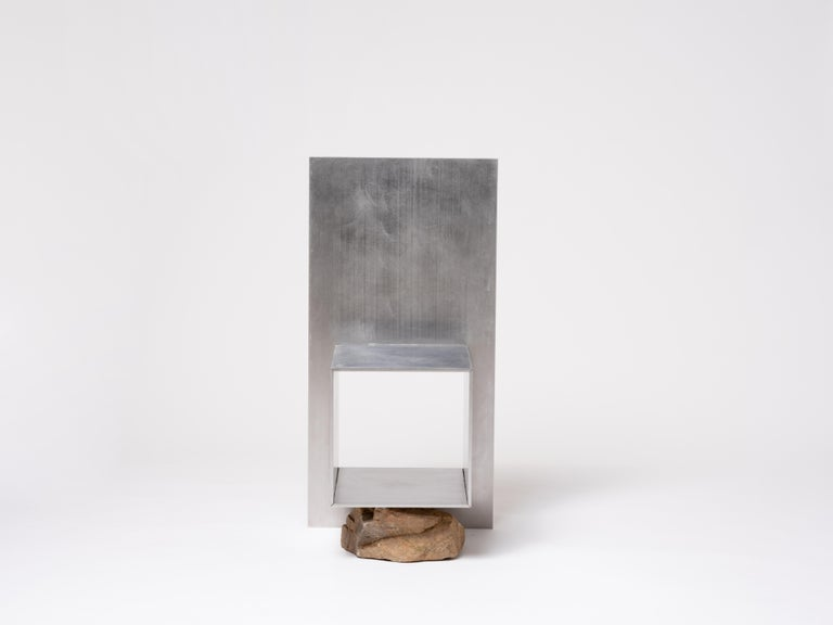 Proportions of stone chair by Lee Sisan 2019 Dimensions: W 45 x D 41 x H 90 cm Materials: Stainless steel, natural stone  Each piece is made to order and uses natural stones, so please expect some variability in design.