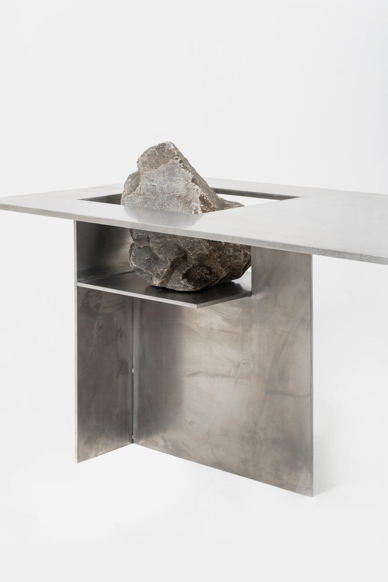 Modern Proportions of Stone Table by Lee Sisan For Sale