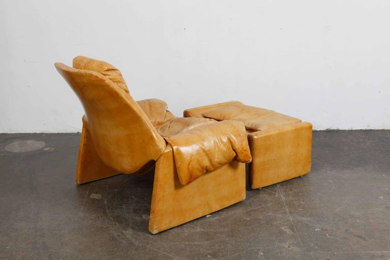 Mid-Century Modern 'Proposal Series' Leather Lounge Chair/Ottoman by Vittorio Intrioni for Saporiti