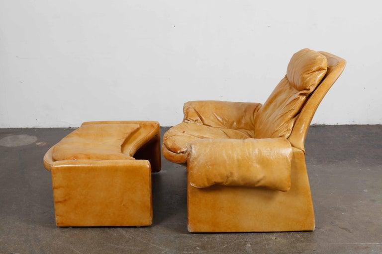 Italian 'Proposal Series' Leather Lounge Chair/Ottoman by Vittorio Intrioni for Saporiti