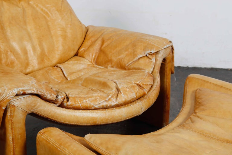 'Proposal Series' Leather Lounge Chair/Ottoman by Vittorio Intrioni for Saporiti 2