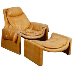 'Proposal Series' Leather Lounge Chair/Ottoman by Vittorio Intrioni for Saporiti