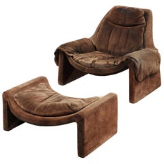 Proposals Armchair P60 & Ottoman P62 Vittorio Introini for Saporiti Brown Suede