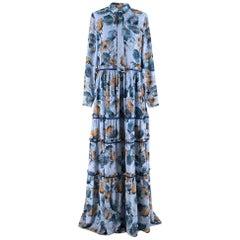 Prose & Poetry Blue & Orange Floral Maxi Dress SIZE S