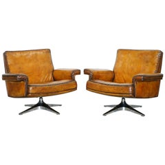 Prototype Pair of Restored 1960s De Sede DS 35 Whiskey Brown Leather Armchairs
