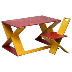 Prototype Viscount David Linley Folding Desk and Chair in Satin Birch Art Modern