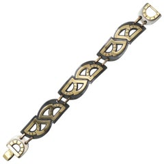 Metaalia Jewelry Protractor Series Bracelet in Sterling Silver and Brass