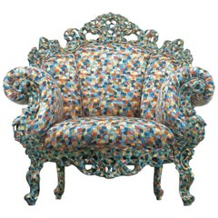 Proust Armchair with Hand-Carved Wooden Frame, Alessandro Mendini for Cappellini
