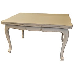 Provencal Country Dining Table or Desk, Painted Antique White 2 Leaves, France