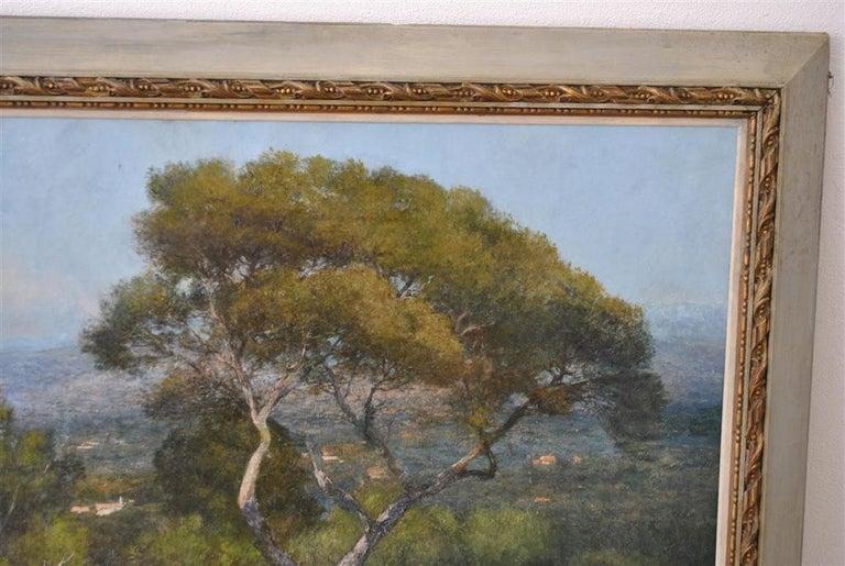 Provençal landscape large format. French School Baudin signed late 19th canvas.