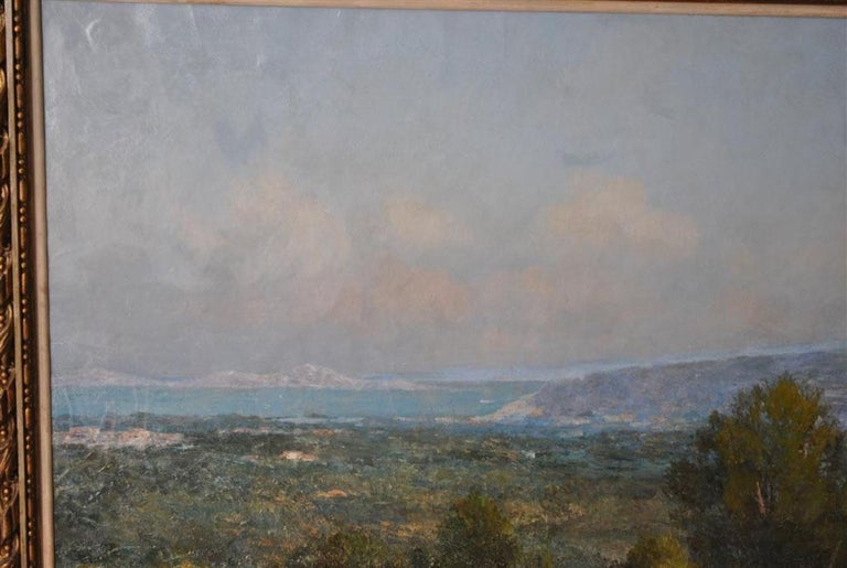 Hand-Painted Provencal Landscape Large Format French School 19th Century Signed Baudin For Sale