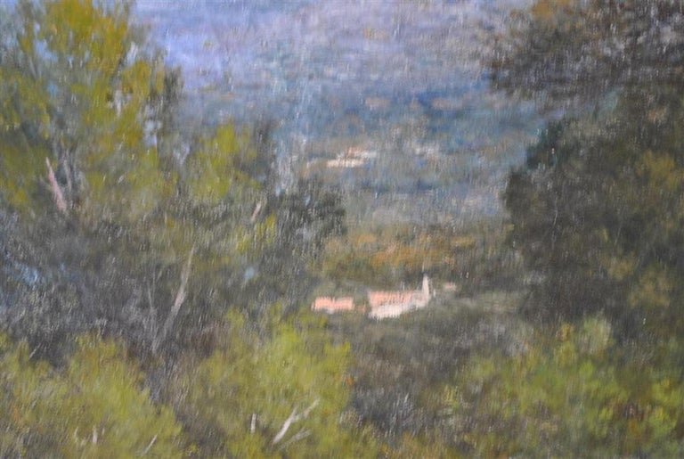 Provencal Landscape Large Format French School 19th Century Signed Baudin In Fair Condition For Sale In Marseille, FR