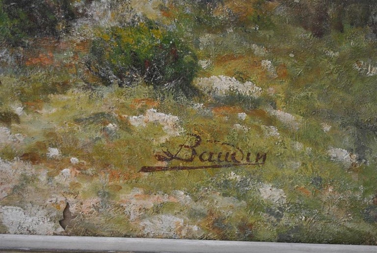 Abalone Provencal Landscape Large Format French School 19th Century Signed Baudin For Sale