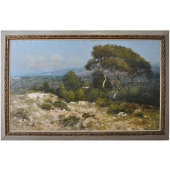 Provencal Landscape Large Format French School 19th Century Signed Baudin