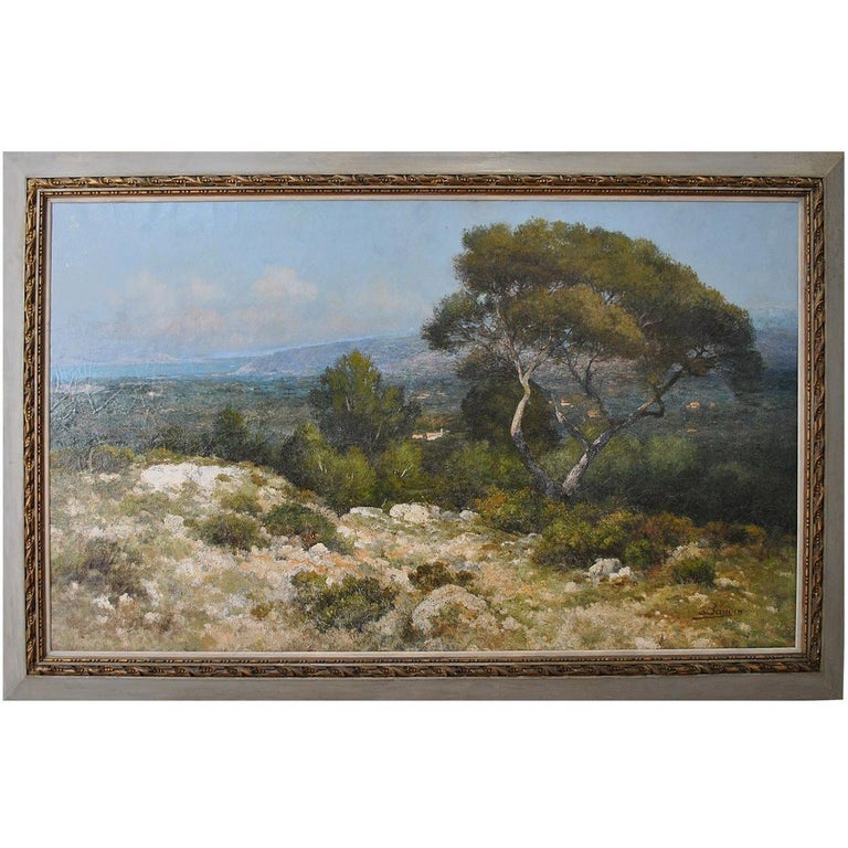 Provencal Landscape Large Format French School 19th Century Signed Baudin For Sale