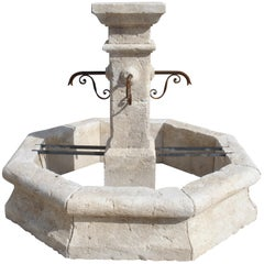 Provencale Center Fountain with Octagonal Basin and Square Center Column