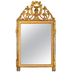 Provence Louis XVI Period Gilt and Lacquered Wood  Front Top Mirror, circa 1780