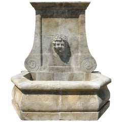 Provence Style Wall Fountain Riviera Coast, Handcrafted Pure Limestone, France
